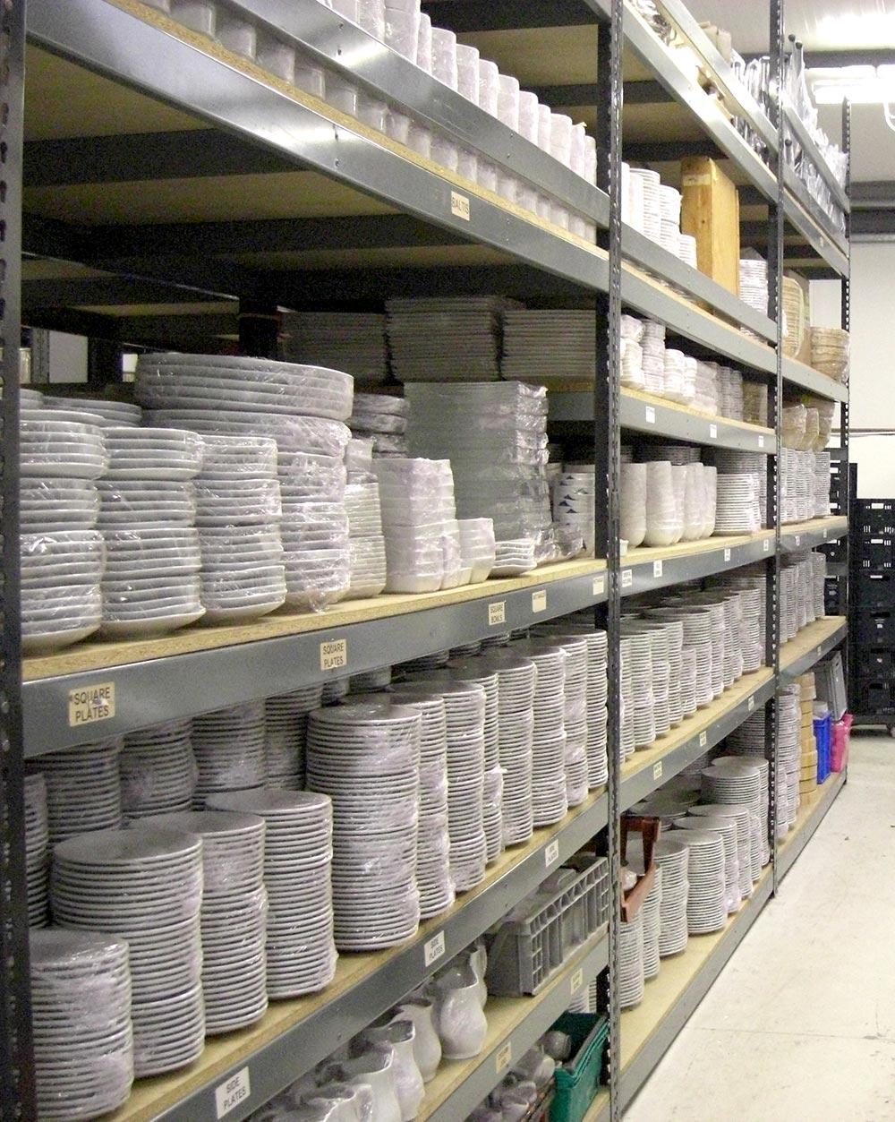 Photo of items stacked in Quickhire's Warehouse
